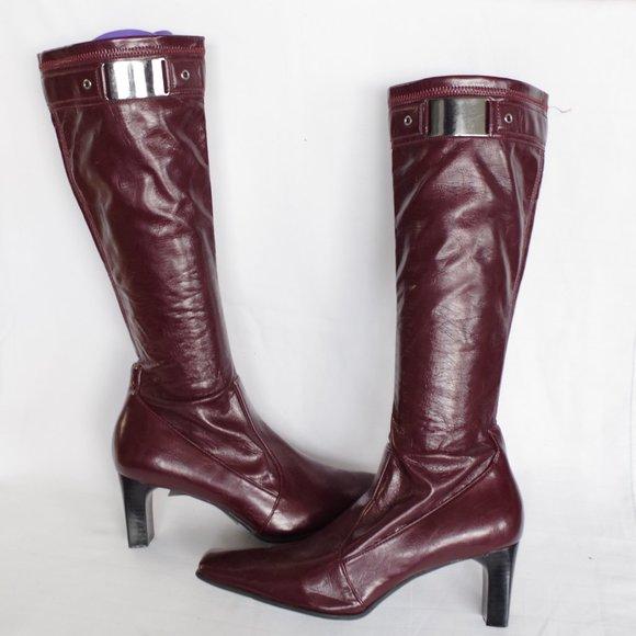 Franco Sarto Oxblood Pull On Heeled Boots- Sz. 7.5
